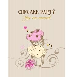 Retro cupcake party invitation vector image