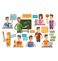 school college flat icons set vector image vector image