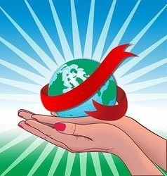 Two Hand holding globe world vector image vector image