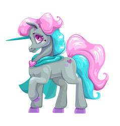 beautiful cartoon unicorn vector image vector image