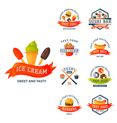 colorful cartoon fast food label logo isolated vector image vector image