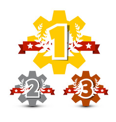 first second and third place icons 1 - 2 -3 cogs vector image vector image