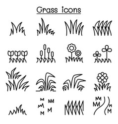 grass icon set in thin line style vector image vector image