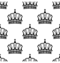 Heraldic seamless pattern with black royal crowns vector image