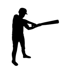 monochrome silhouette of baseball player with vector image vector image