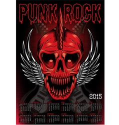poster with a red skull and calendar for punk rock vector image vector image
