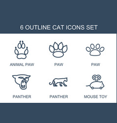 6 cat icons vector image