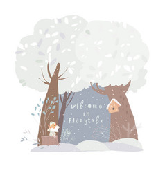 a beautiful woodland winter scene with trees and vector image