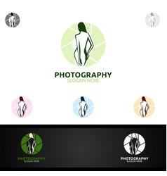 Abstract fashion camera photography logo icon vector