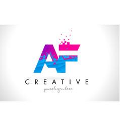Af a f letter logo with shattered broken blue vector