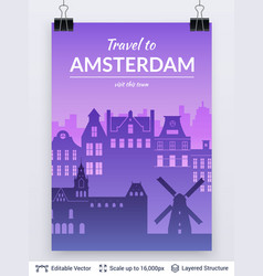 amsterdam famous city scape vector image