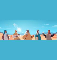 Arabic people walking in desert happy arab friends vector