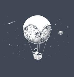 Astronaut travels on aerostat made moon vector