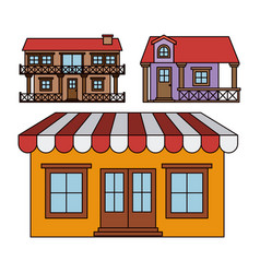 Background with colorful set of balcony houses and vector