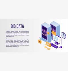 big data concept banner isometric style vector image