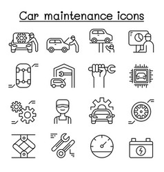 car service maintenance icon set in thin line vector image