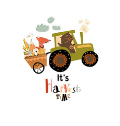 cartoon happy animals riding on tractor with vector image