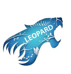 Cartoon paper branch leopard vector