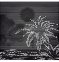 Chalk palm tree and ocean sketch vector