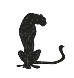 cheetah sitting drawing silhouette vector image