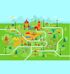 children playground in park with people and vector image