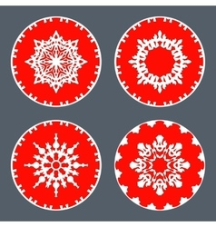 Christmas snowflake icon set Ornamental view snow vector