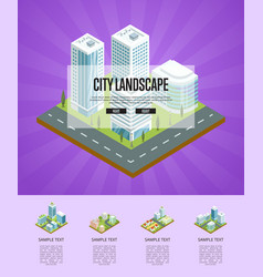 city landscape with big buildings poster vector image