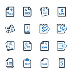 cost icons - blue version vector image