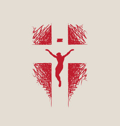 Creative religious banner with crucified jesus vector
