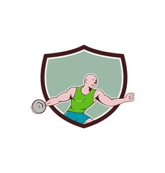 Discus thrower crest cartoon vector