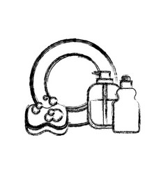 dish and sponge and dishwasher soap in monochrome vector image