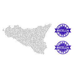Dotted map of sicilia island and scratched seal vector