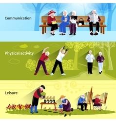 Elderly People Banners Set vector
