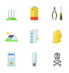 Electrical work icons set flat style vector