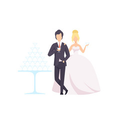 elegant bride and groom drinking champagne vector image