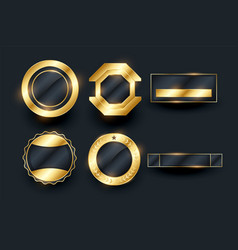 Empty golden badges and labels elements collection vector