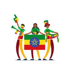 Ethiopian with ethiopia flag symbol vector