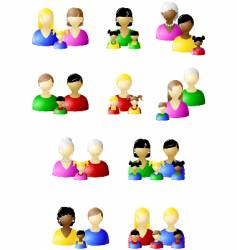 families icon set vector image