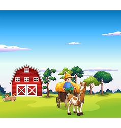 Farm Horse Carriage vector