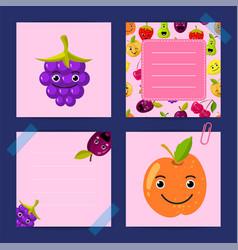 flat cute orange blackberry plum fruits vector image