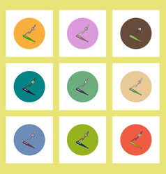Flat icons set of progress statistics and baseball vector