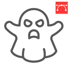 ghost line icon halloween and scary sign vector image