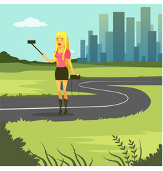 Girl taking selfie photo while walking on city vector