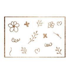 golden flower heart and shape on white vector image