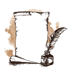 Hand-drawn paper scroll feather and inkwell vector