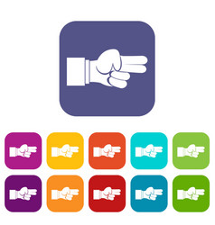 Hand showing two fingers icons set vector
