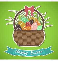 Happy Easter card Basket with Easter eggs vector image