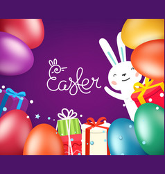 happy easter greeting card template with eggs and vector image