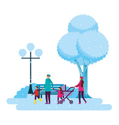 happy family in the park winter scenery vector image