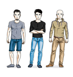 Happy men posing in stylish casual clothes people vector